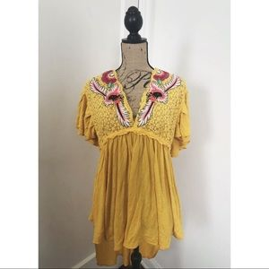 NEW Free People Yellow Boho Embroidered Hi-Lo Top